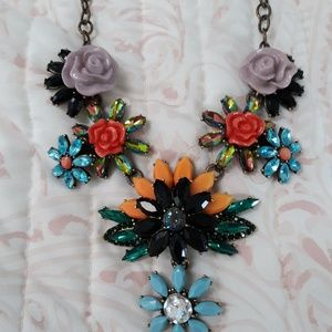 Joan Rivers Garden Statement Necklace Floral Bib A
